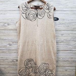 Ming Wang Beige and Black Swirled Sheath Dress